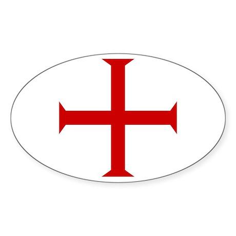 Knights Templar Cross Oval Sticker