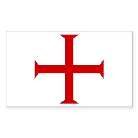 Knights Templar Cross Rectangle Sticker