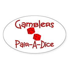 Gamblers Pair-A-Dice Oval Sticker (10 pk)