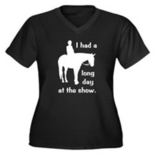 Long Day At The Show Women's Plus Size V-Neck Dark