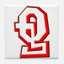 Funky Red Q Tile Coaster