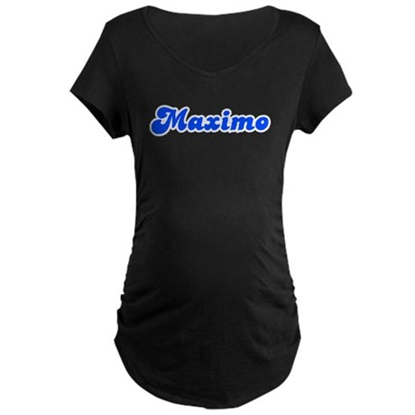 Retro Maximo (Blue) Maternity Dark T-Shirt