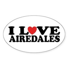 I Love Airedales Oval Decal
