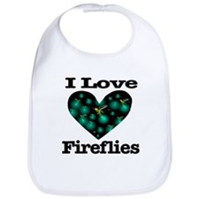 I Love Fireflies Midnight Hea Bib