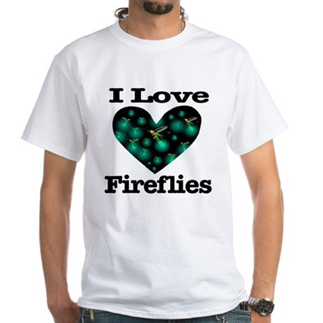I Love Fireflies Midnight Hea White T-Shirt