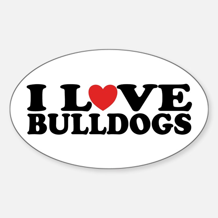 I Love Bulldogs Oval Decal