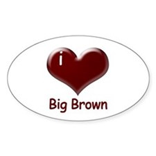 I heart Big Brown Oval Decal
