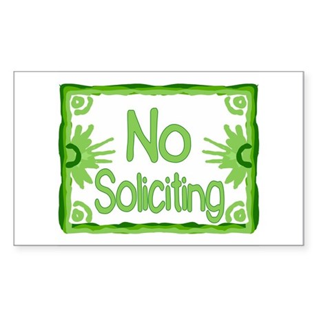 No Soliciting Green Rectangle Sticker