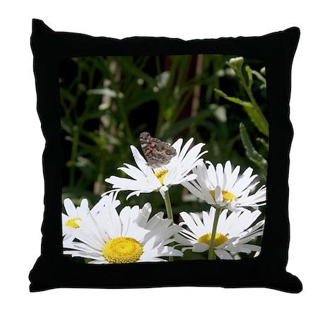 Butterfly on Shasta Daisy Throw Pillow