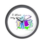 Clothesline Dryer Love Wall Clock