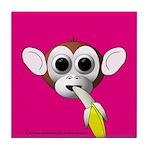 Monkey with Banana Tile Coaster
