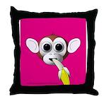Monkey with Banana Throw Pillow