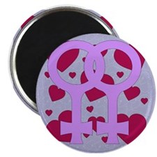 Lesbian Marriage Hearts Magnet