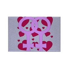 Lesbian Marriage Hearts Rectangle Magnet