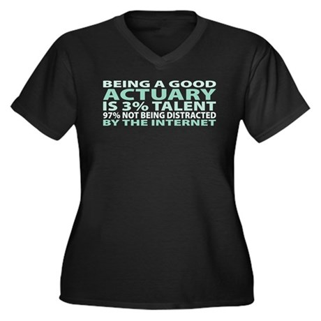 Good Actuary Women's Plus Size V-Neck Dark T-Shirt