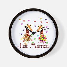Wedding Giraffes Wall Clock
