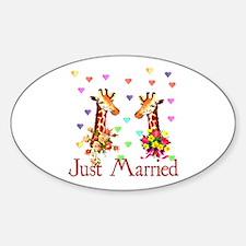 Wedding Giraffes Oval Decal