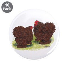 "Red Frizzle Chickens 3.5"" Button (10 pack)"