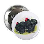 "Black Frizzle Cochins2 2.25"" Button (10 pack)"