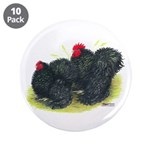 "Black Frizzle Cochins2 3.5"" Button (10 pack)"