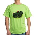 Black Frizzle Cochins2 Green T-Shirt