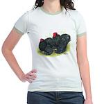 Black Frizzle Cochins2 Jr. Ringer T-Shirt