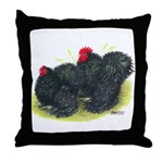 Black Frizzle Cochins2 Throw Pillow