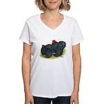 Black Frizzle Cochins2 Women's V-Neck T-Shirt