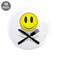 """Hungry Happy Face 3.5"""" Button (10 pack)"""