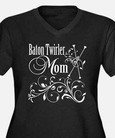 Baton Twirler Mom Women's Plus Size V-Neck Dark T-
