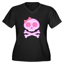 Skull (Pink) Women's Plus Size V-Neck Dark T-Shirt