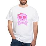 Pink Skull White T-Shirt