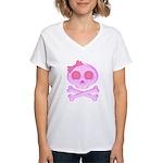 Pink Skull Women's V-Neck T-Shirt