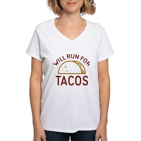 Will Run For Tacos Women's V-Neck T-Shirt