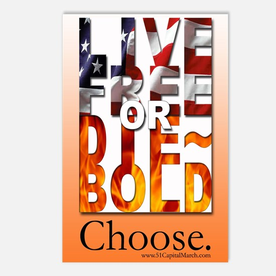 LIVE FREE or DIE~BOLD 4x6 Postcards (Package of 8)