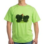 Black Frizzle Cochins Green T-Shirt