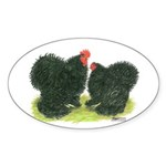 Black Frizzle Cochins Oval Sticker (10 pk)