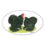 Black Frizzle Cochins Oval Sticker (50 pk)