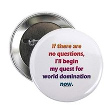 "No questions, world domination 2.25"" Button"
