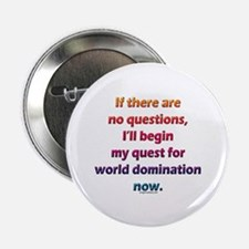 """No questions, world domination 2.25"""" Button"""
