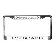 Cartoon Border Collie License Plate Frame