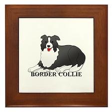 Cartoon Border Collie Framed Tile