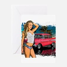 57 Chevy Girl Greeting Card