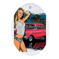 57 Chevy Girl Oval Ornament