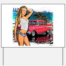 57 Chevy Girl Yard Sign