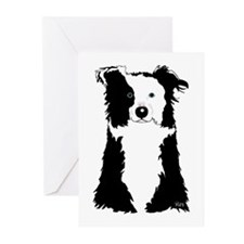 White Border Collie Greeting Cards (Pk of 20)