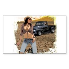Cowgirl Trucker Rectangle Decal