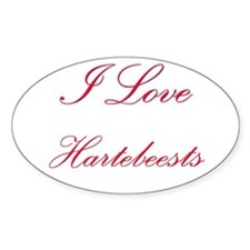 I Love Hartebeests Oval Sticker