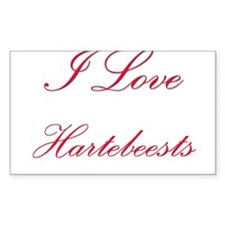 I Love Hartebeests Rectangle Sticker
