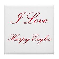 I Love Harpy Eagles Tile Coaster